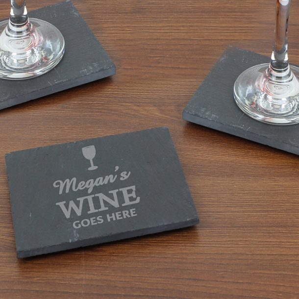 Personalised Wine Goes Here Slate Coaster
