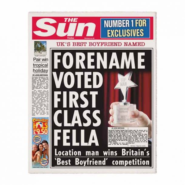 The Sun Personalised Spoof Newspaper - Best Boyfriend