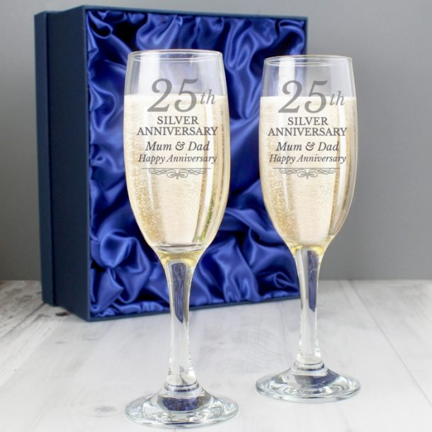 Personalised 25th Silver Anniversary Pair of Flutes & Gift Box