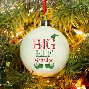 Personalised Big Elf Christmas Bauble
