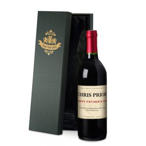 Personalised Father's Day French VdP Red Wine & Silk Box