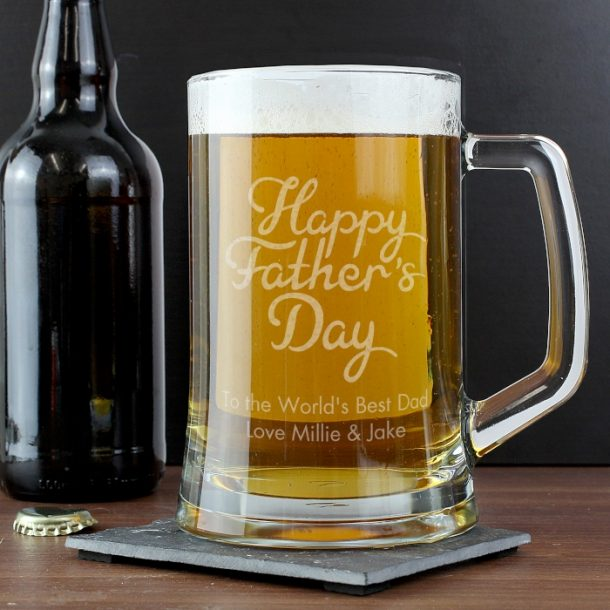 Personalised Father's Day Glass Pint Stern Tankard