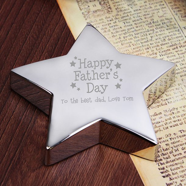 Personalised Happy Father's Day Star Paperweight