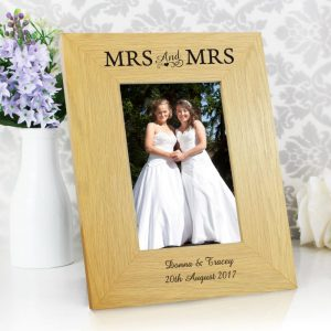 Personalised Mrs & Mrs Wooden Frame
