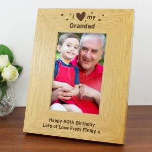 Personalised Oak Finish I Heart My Photo Frame
