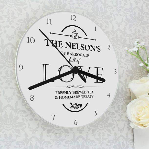 Personalised Full of Love Glass Clock