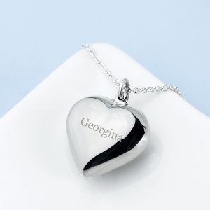 Personalised Silver Cherish Heart Necklace