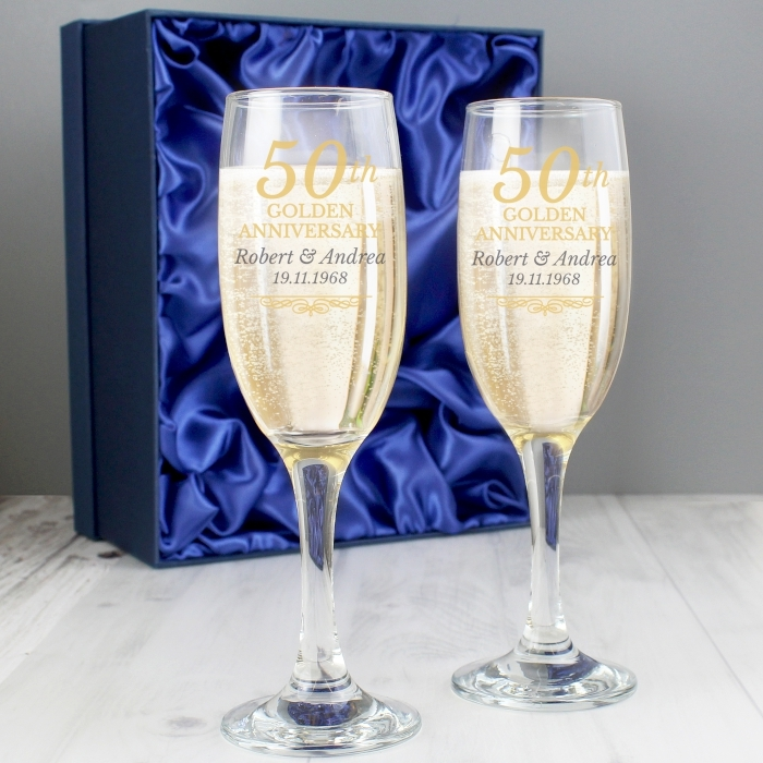 Golden Wedding Gift Ideas Uk: Personalised 50th Golden Anniversary Pair Of Flutes & Gift