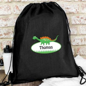 Personalised Dinosaur Black Swim & Kit Bag