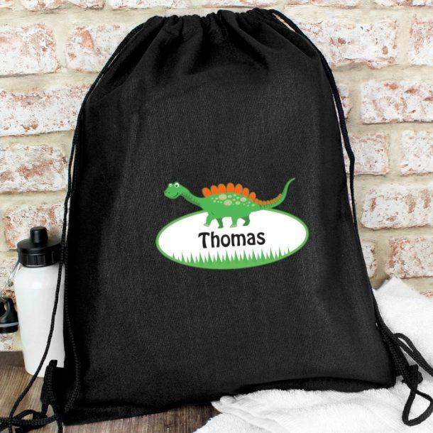 Personalised Dinosaur Black Swim & Kit Bag