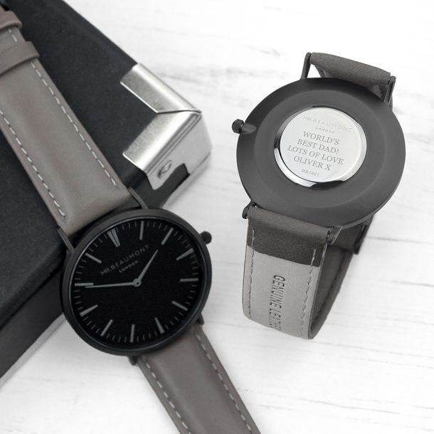 Personalised Mr Beaumont Men's Ash Leather Watch