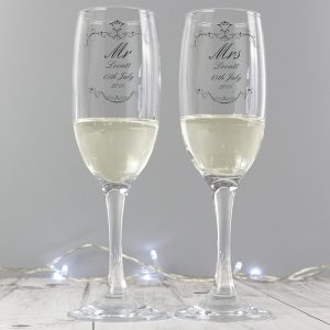 Personalised Swirl Couples Pair Of Flutes