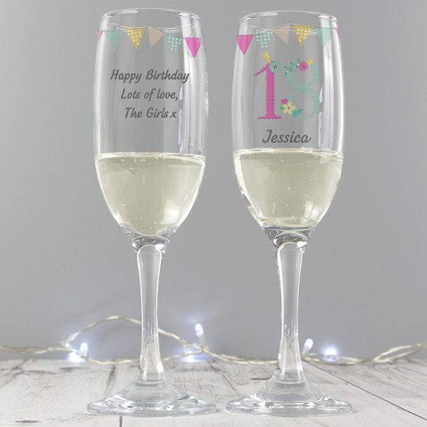 Personalised Birthday Craft Glass Flute