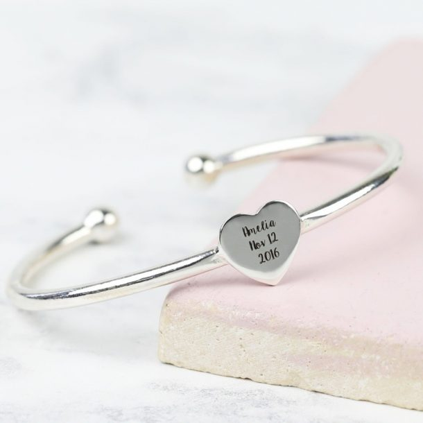 Engraved Sterling Silver Baby Heart Bangle