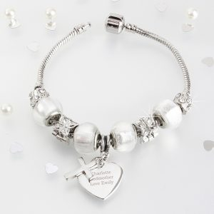 Personalised Cross Charm Bracelet - Ice White