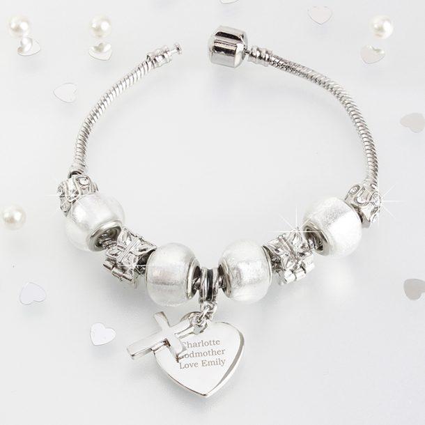 Personalised Cross Charm Bracelet - Ice White