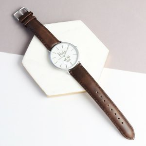Personalised Leather Husband Watch