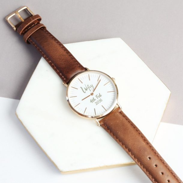 Personalised Leather Wife Watch