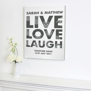 Personalised Live Love Laugh Canvas