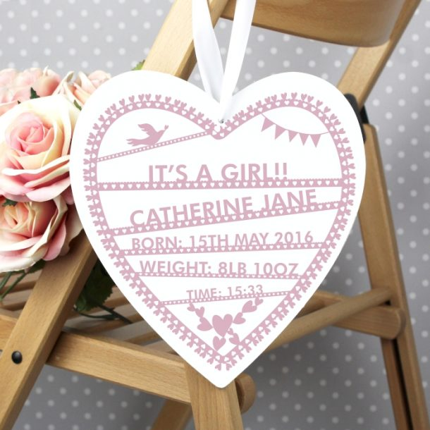 Personalised Pink Wooden Heart Decoration