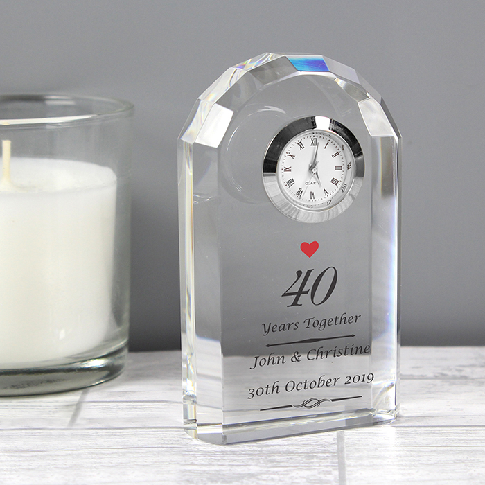 Ruby Wedding Gifts For Her: Personalised Ruby Anniversary Crystal Clock