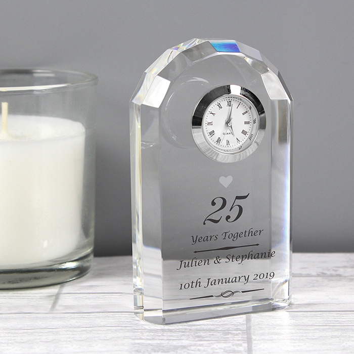 Personalised Silver Anniversary Crystal Clock Love My Gifts