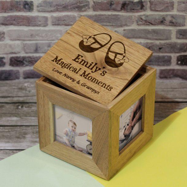 Personalised Baby Girl Shoes Photo Keepsake Box