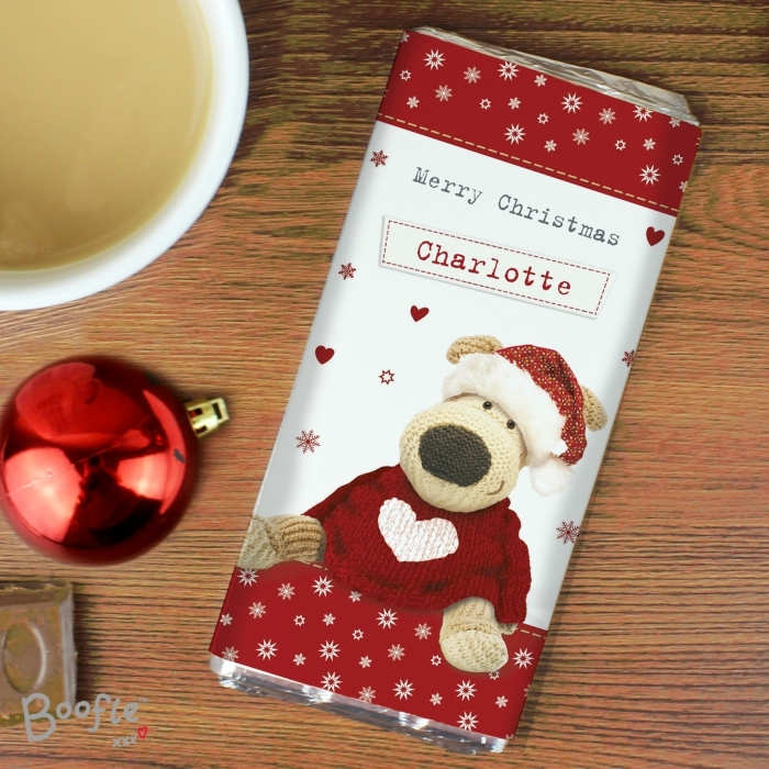 Personalised Boofle Christmas Love Milk Chocolate Bar