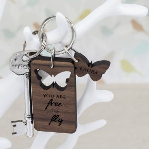 Personalised Butterfly Wooden Keyring