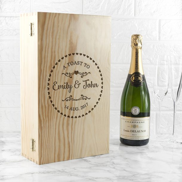 Personalised Couple's Heart Frame Wine Box