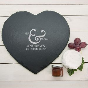 Personalised Couples Heart Slate Cheese Board
