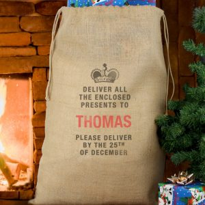 Personalised Deliver Presents To Christmas Hessian Sack