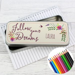 Personalised Dreams Tin with Pencil Crayons