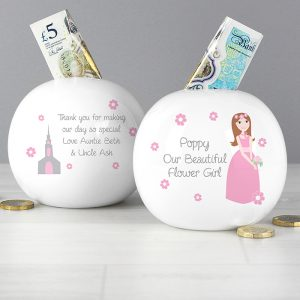 Personalised Fabulous Flower Girl Money Box