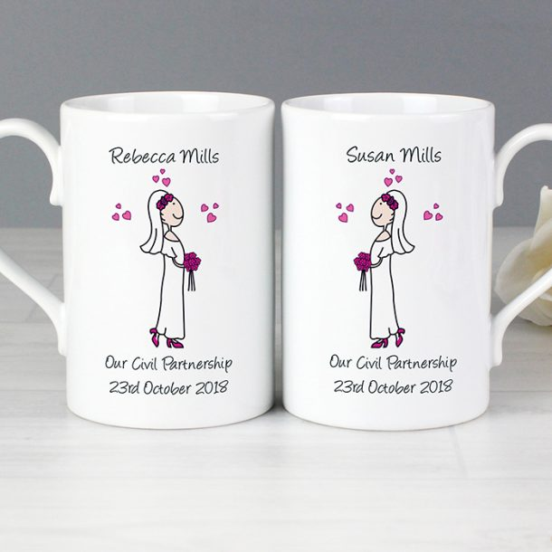 Personalised Female Wedding Mug Set