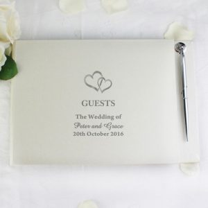 Personalised Guest Book & Pen Hearts Design