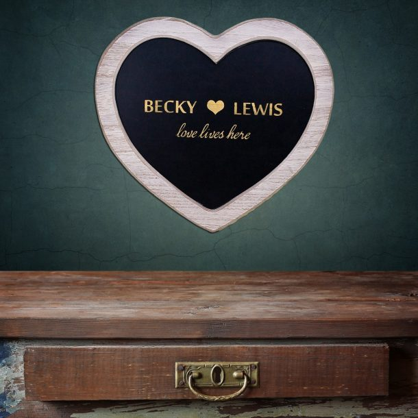 Personalised Love Lives Here Chalkboard Heart