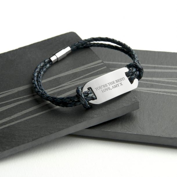 Personalised Men's Statement Navy Leather Bracelet