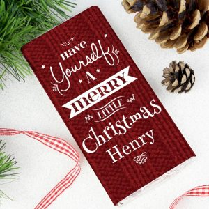 Personalised Merry Little Christmas Chocolate Bar