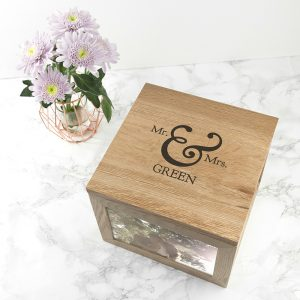 Personalised Mr & Mrs Oak Photo Keepsake Box