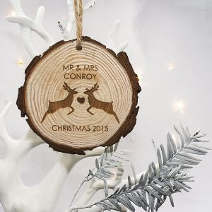 Personalised Mr & Mrs Reindeer Hanging Decoration