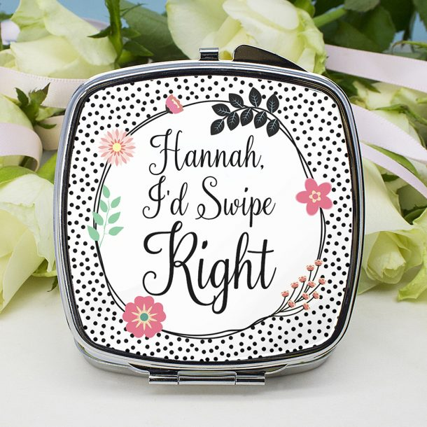 Personalised Tinder Square Compact Mirror
