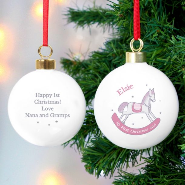 Personalised 1st Christmas Pink Rocking Horse Bauble