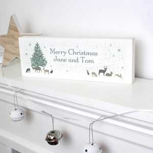Personalised A Winters Night Wooden Block Sign