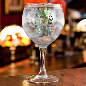 Personalised Can't Buy Happiness Gin Balloon Glass