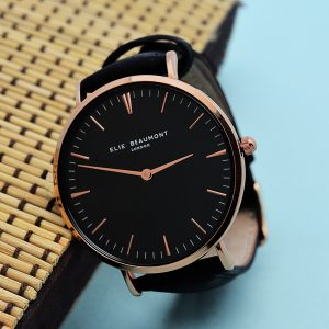 Personalised Elie Beaumont Ladies Leather Watch in Black