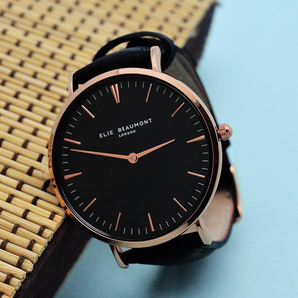 Personalised Elie Beaumont Ladies Leather Watch in Black