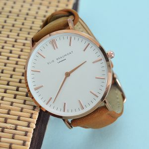 Personalised Elie Beaumont Ladies Leather Watch in Camel