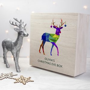 Personalised Geometric Reindeer Christmas Eve Box