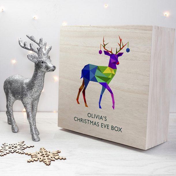Personalised Geometric Reindeer Christmas Eve Box